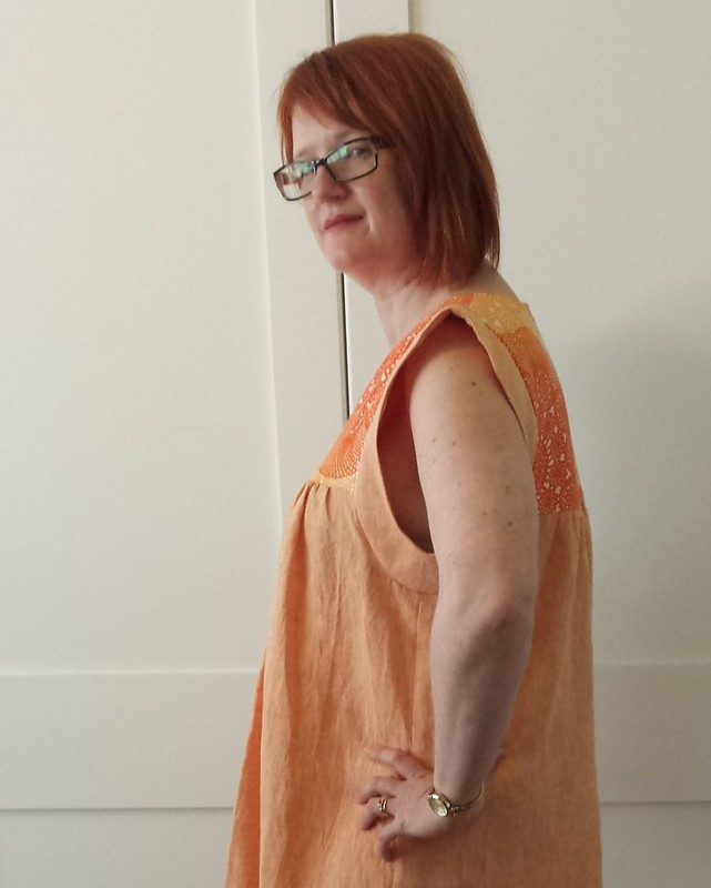 Tessuti Alice dress in Darn Cheap Fabrics linen - way too big