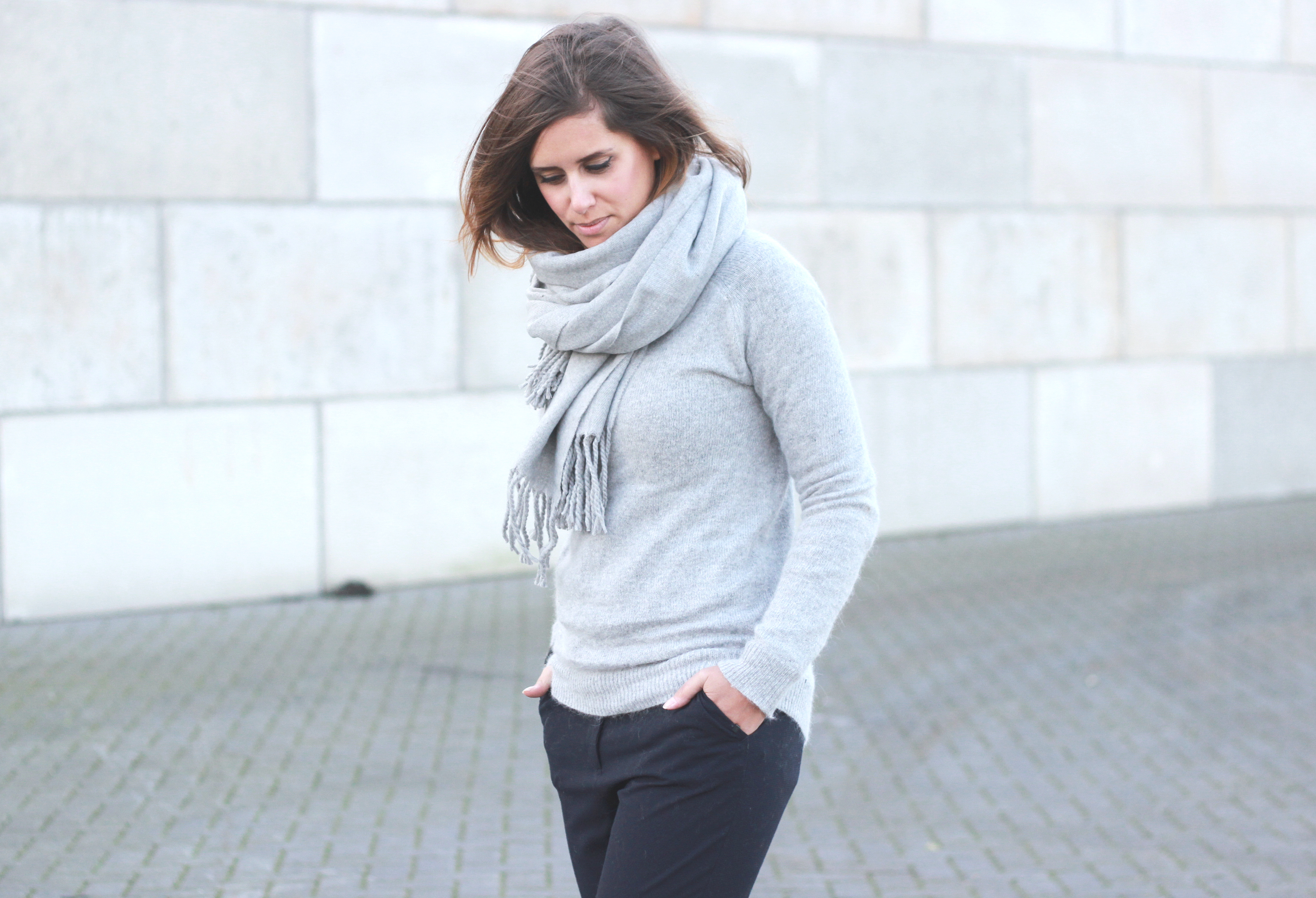 Hair tuck in scarf, acne canada grey scarf similar, grey on grey