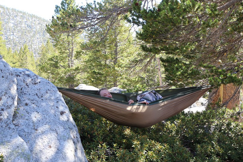 Relaxing in a hammock after a long day of hiking