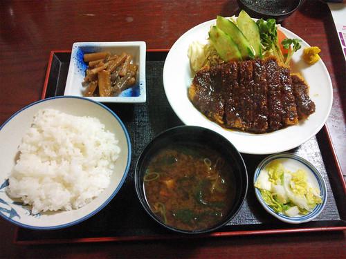 民宿ラムネ屋で味噌カツ@下呂温泉
