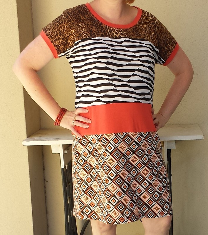 New Look 6216 lengthened to a dress in a variety of scrap fabrics