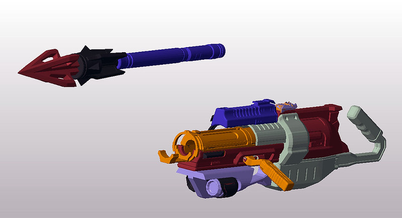 Harpoon Gun digital model Pars