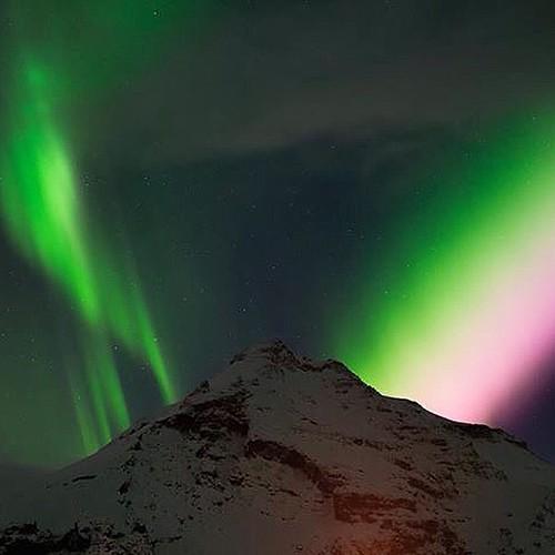 Northern lights in Skoga. Photos do not do it justice. #Iceland #Skoga# #northernlights #mountain #aurora #picoftheday Photo Credit: Trung Nguyen