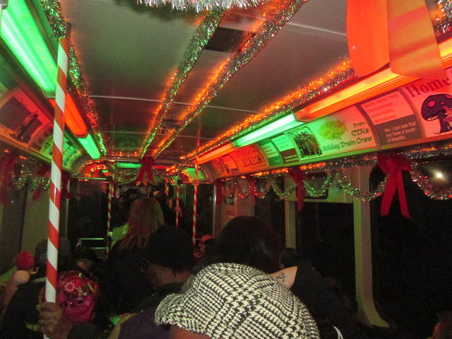 A crowded Yellow Line train - only on holidays