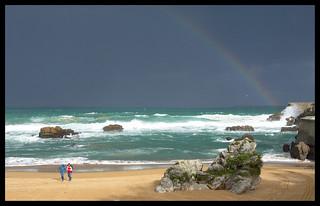 Playa de La Concha 의 이미지. arcoiris playa santander cantabria sardinero