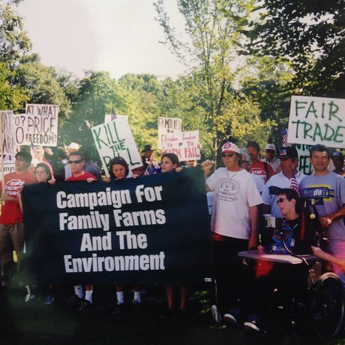 Neil Young and his son Ben join family farmers and farm activists to advocate for fair farm policy in front of the US Capitol building in 1999. #tbt