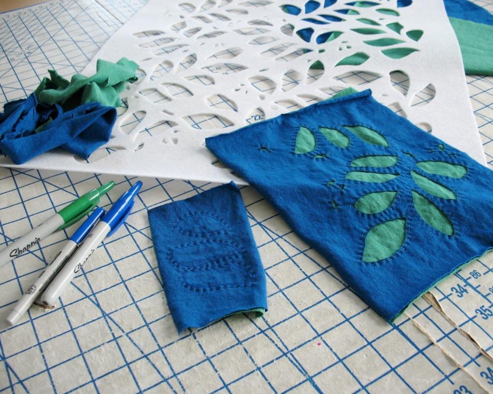 Lilacs lace hand appliqué