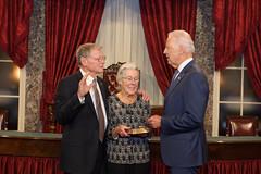 image of U.S. Sen. Jim Inhofe, his wife and Vice President Joe Biden in the recent U.S. Senate swearing-in ceremony