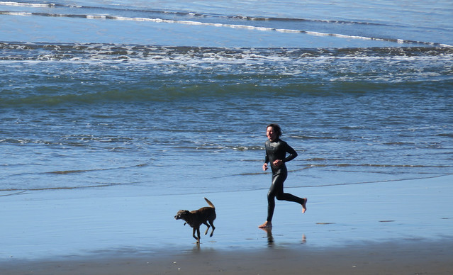 surfer and his dog running at Ocean Beach, San Francisco; January 1, 2015