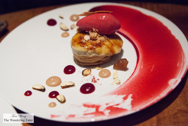 Chestnut, Puff Pastry, Crème Brûlée and Cranberry Sorbet