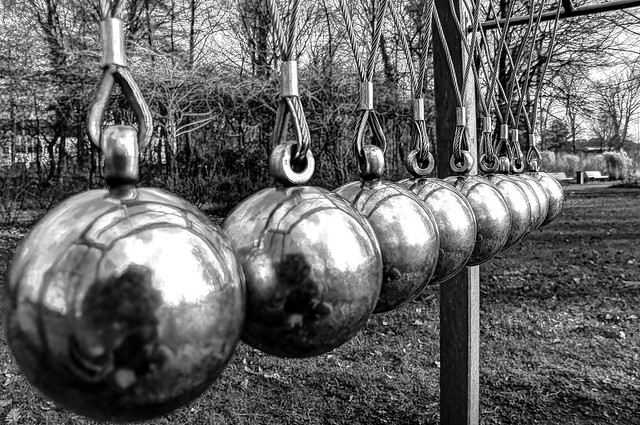 Newton's Cradle at Kurpark, Bad Laer Germany.