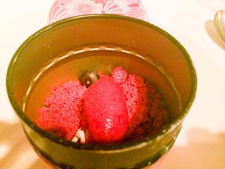 Pre postre - Bizcocho de frambuesa y sorbete de fresas