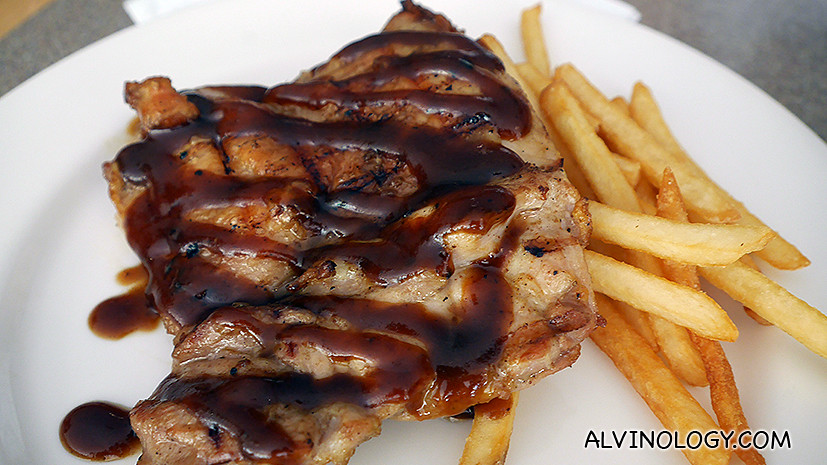 Teriyaki chicken chop with a side of shoestring fries