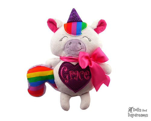 Unicorn ITH Embroidery Pattern Stuffie