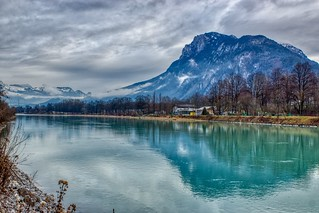River Inn with Kaiser mountains near Kufstein, Austria