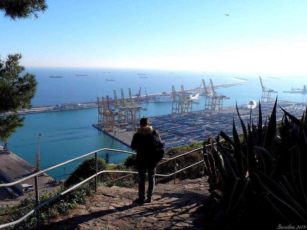 Barcelona day_3, View on port from Castell de Montjuïc