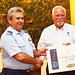 Commander Panagiotis Dimopoulos from the Hellenic Air Force receives a Diplôme d'Honneur from FAI President Dr John Grubbström