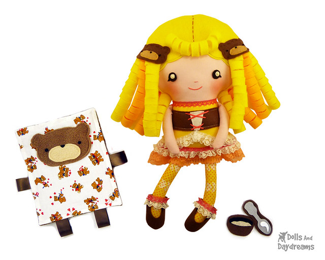 Goldilocks & her cute curly felt hair