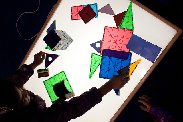 Magna-Tiles on a Light Table