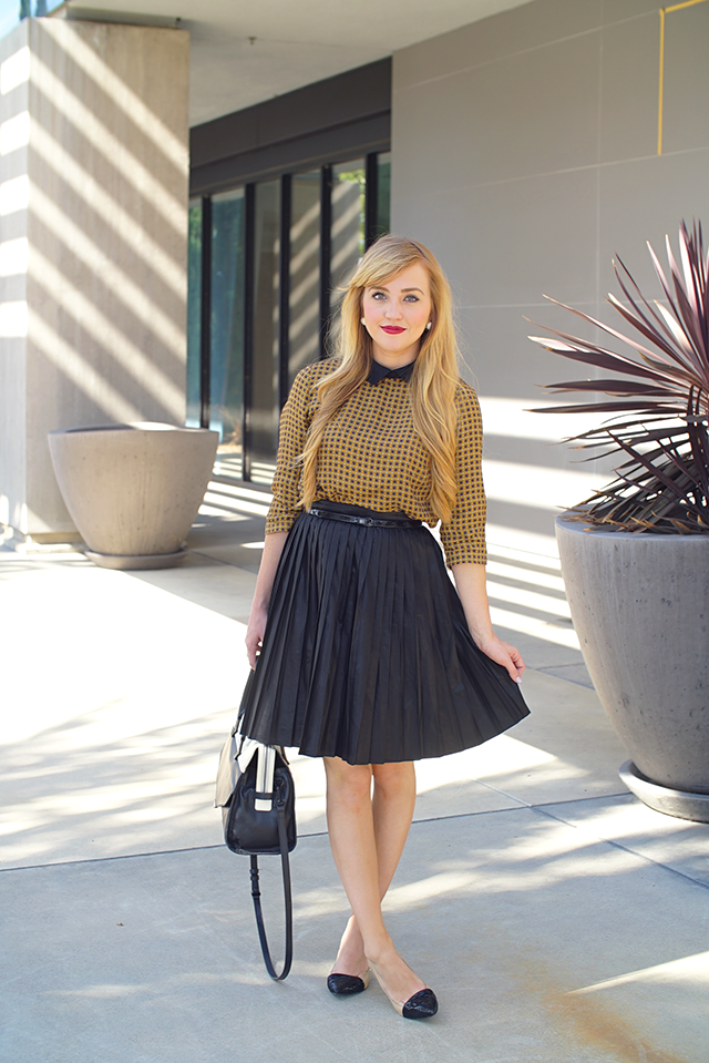 how to style a faux leather midi skirt