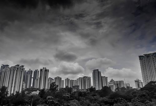 Dark Clouds over Bukit Kiara, Kuala Lumpur BW