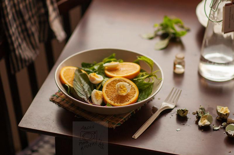 Orange Salad with Quail eggs