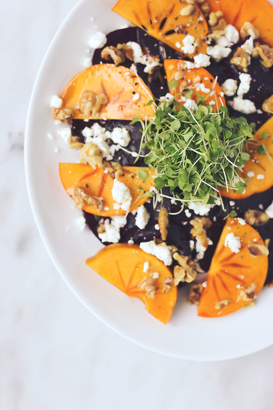 Roasted Beet and Persimmon Salad with Goat Cheese and Toasted Walnut Vinaigrette
