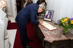 U.S. Secretary of State John Kerry signs the guestbook at the British Embassy in Vienna, Austria, on November 23, 2014, before attending an E3+1 working dinner - with the United Kingdom, France, Germany, and a representative of the European Union - amid multilateral negotiations with Iran about the future of its nuclear program.  [State Department photo/ Public Domain]
