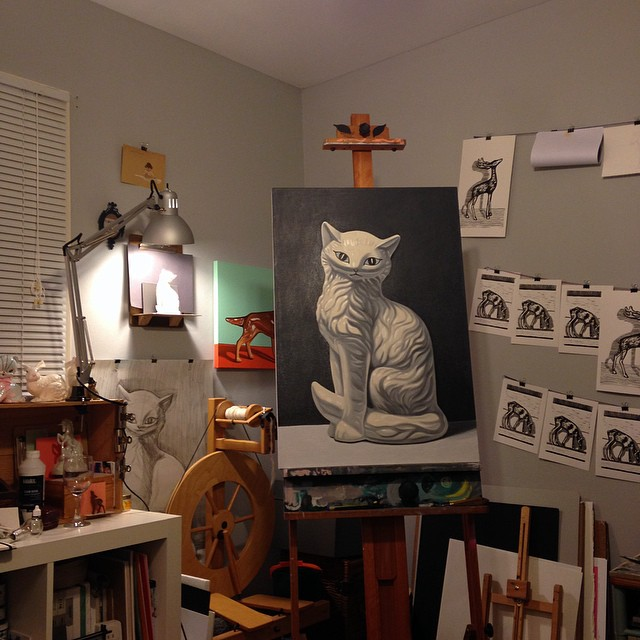 Almost done. One more layer on the background and waiting for pArt of the cat to dry so I can fix a few things I messed up.  #impatient #waitingforpainttodry #oilpaint #painting #fineart #catsofinstagram #cassiemarieedwards