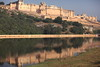 Amber fort with lake in Jaipur