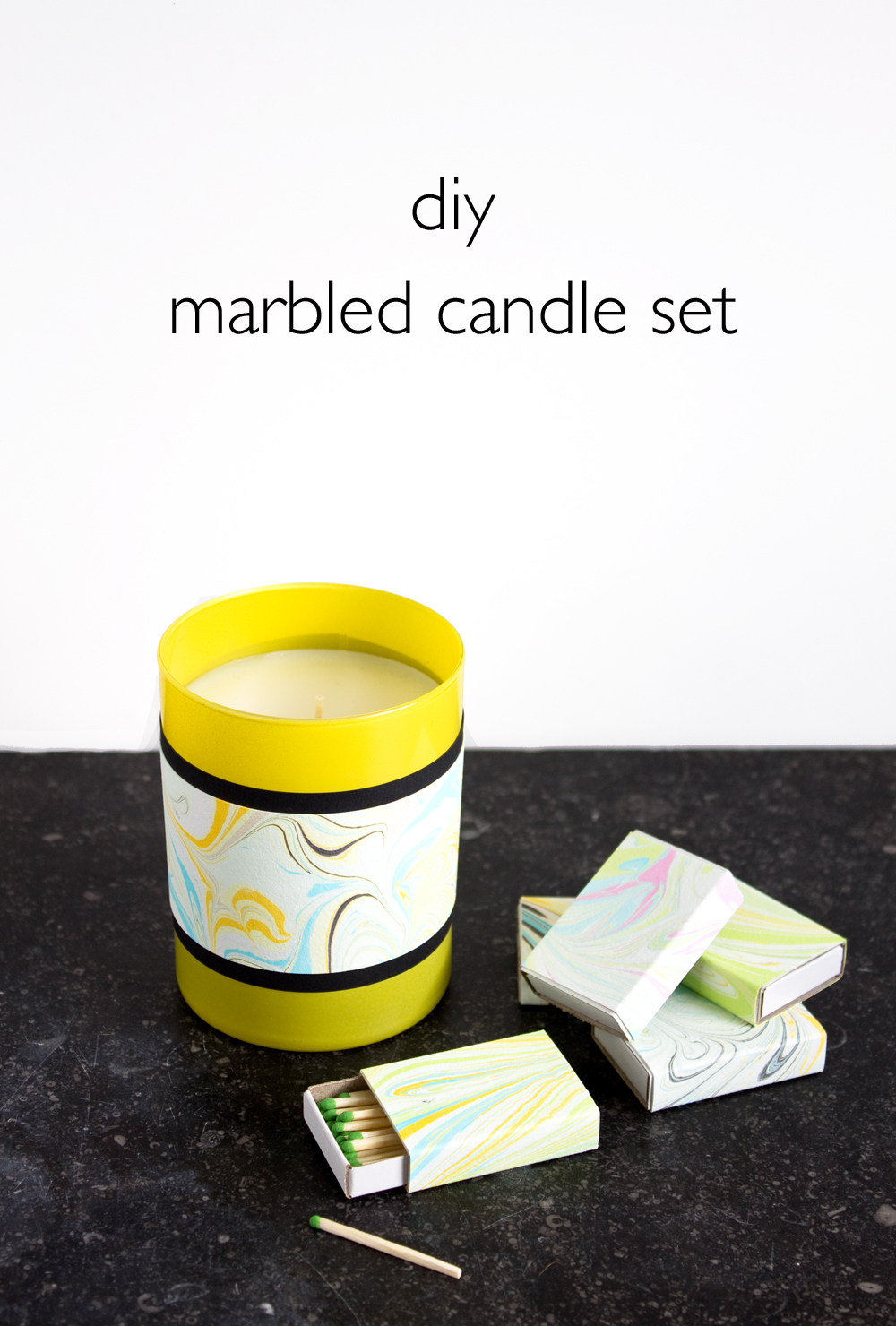 DIY Marbled Candle Set | www.vitaminihandmade.com