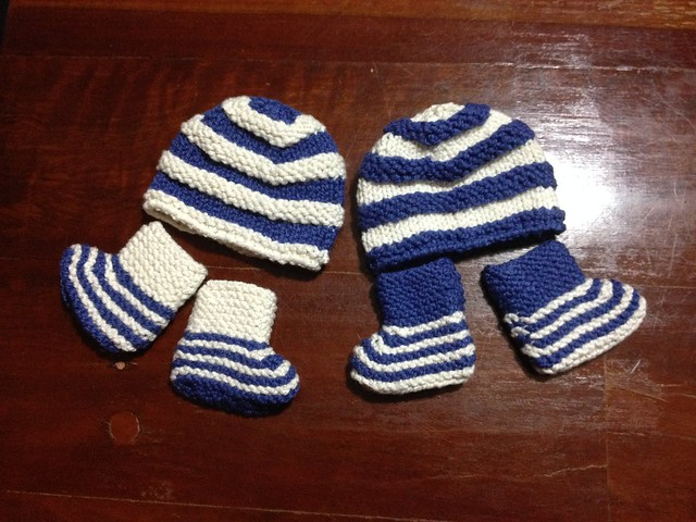 Striped baby booties and beanies