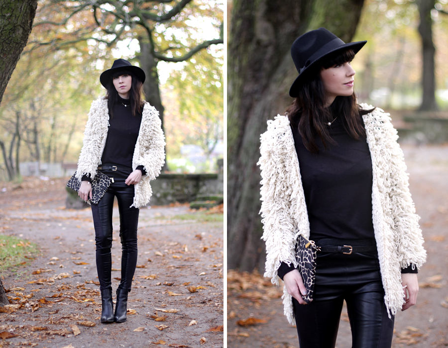 outfit fashionpills fluffy jacket leather pants turtle neck leather boots sacha ootd look lookbook germany fashion blogger modeblogger ricarda schernus berlin cats & dogs 1