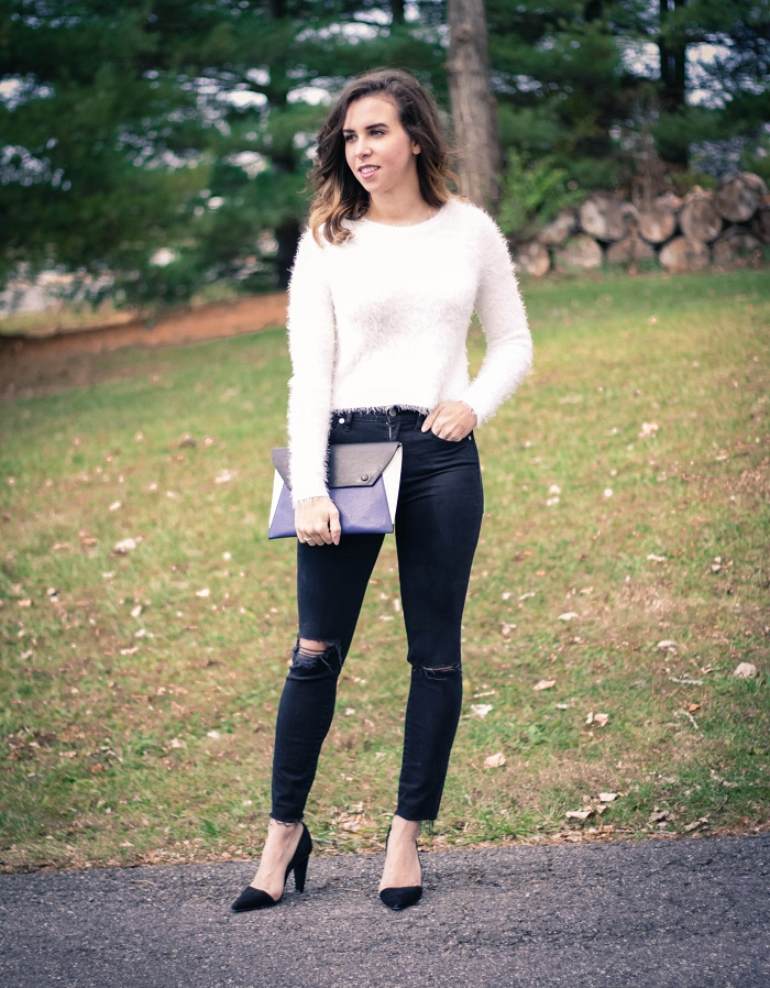 fuzzy white sweater. distressed madewell black denim. winter outfit. cold weather. dc style.  va darling. 2