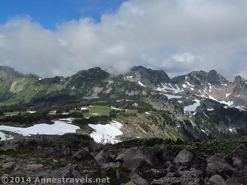 At the highest point on the trail, looking back over Spray Park, Mt. Rainier National Park, Washngton