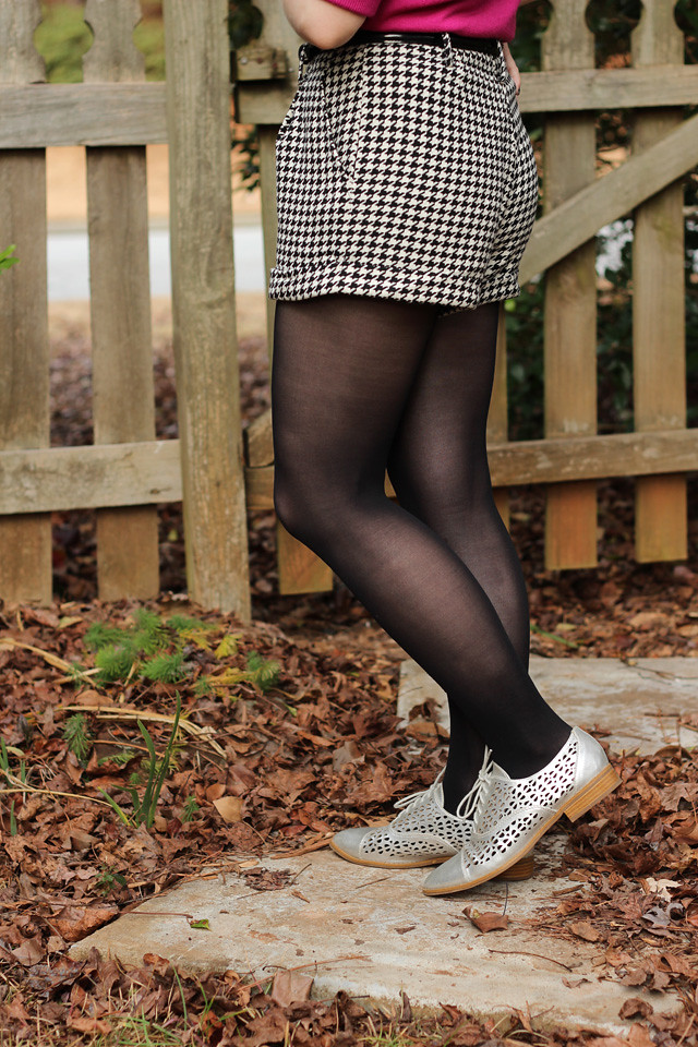 Houndstooth Shorts, Black Tights, and Silver Shoes
