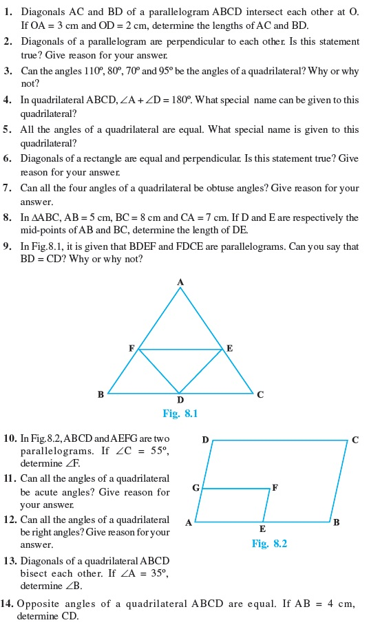 Worksheets Special Quadrilaterals Worksheet 9 important questions for maths quadrilaterals class quadrilaterals