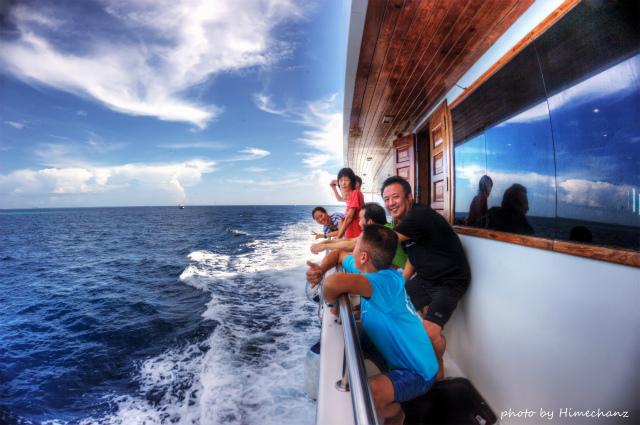 水面休息中、何度かイルカの群れに遭遇♪ 写真には撮れずでしたが、こんな感じでイルカウォッチング♪