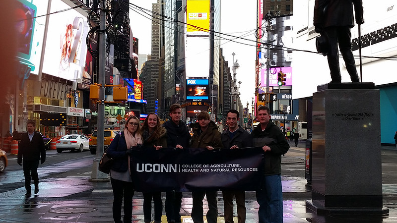 In Times Square, from left to right: economics major Gabriella Beaumont-Smith; agricultural and resource economics majors Casey Foley, Adam Bestrom, and Philip Hornig; ARE graduate student Michael Katz; and Ben Campbell.