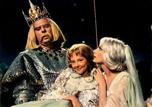 Jean-Luc Bideau, Marianne Ridoret and Marie Laforet in Le Petit Poucet (1972)
