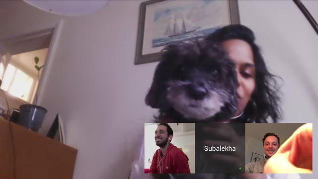 Hanging out with Lekha's dog Panther