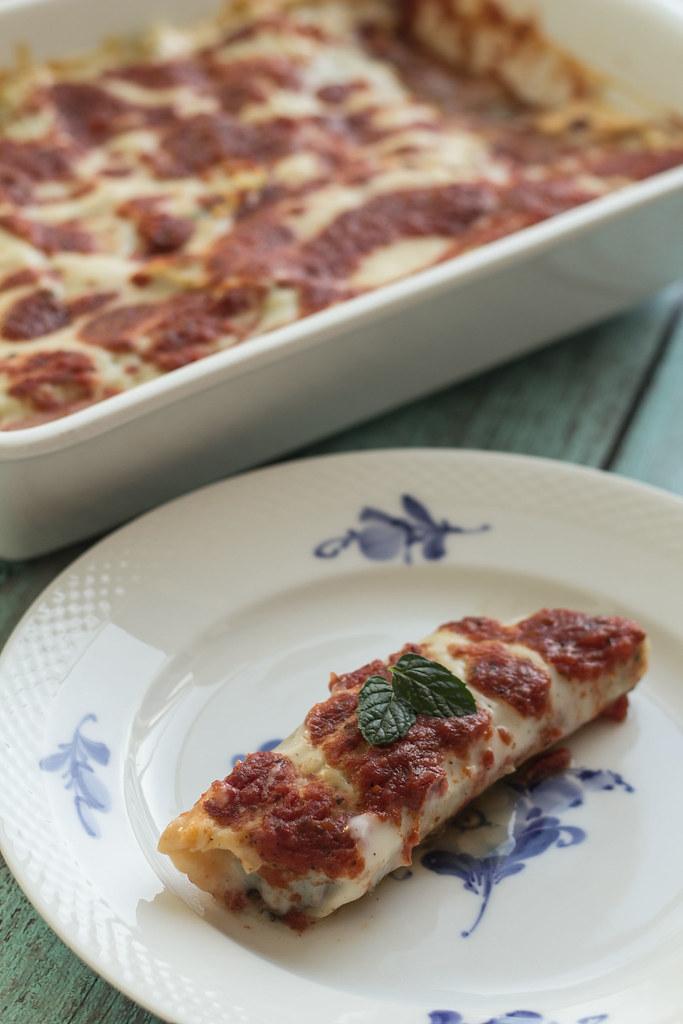 Cannelloni med oksekød og spinat