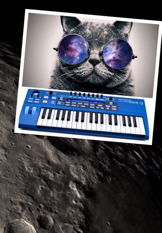 A cat on a synthesizer in space