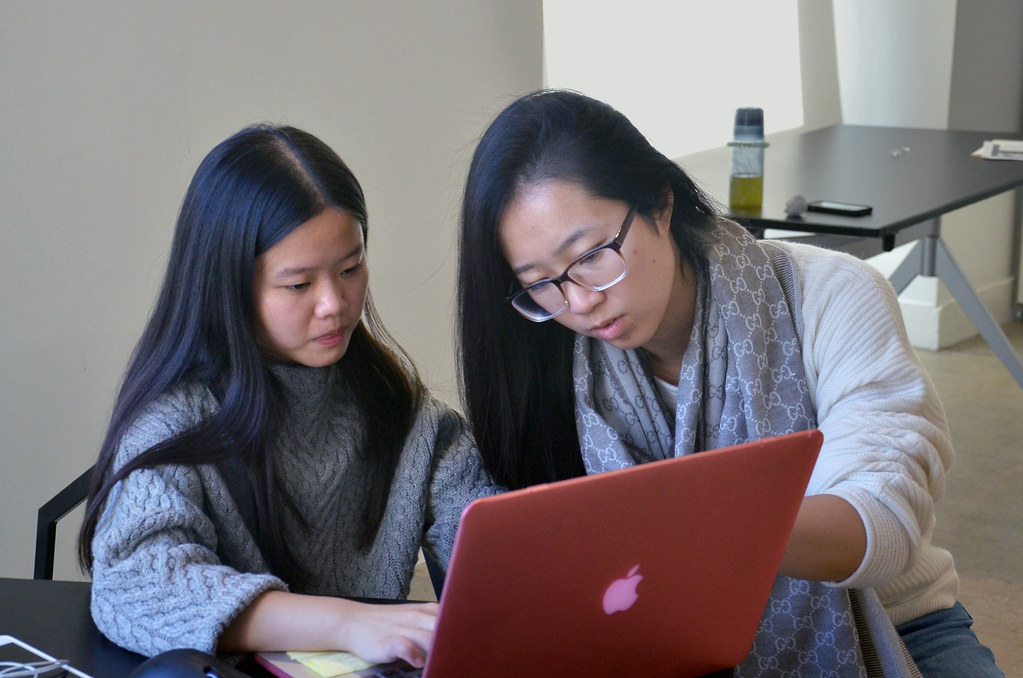 M.R.P. students Maggie Dong (left) and Angela Bai spent the fall 2015 semester in the CRP graduate Urban Design studio at AAP NYC.
