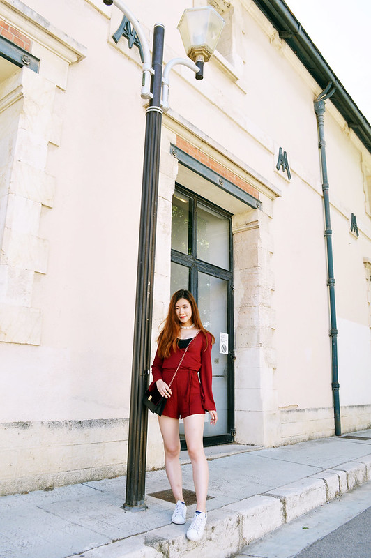 korean style red dress