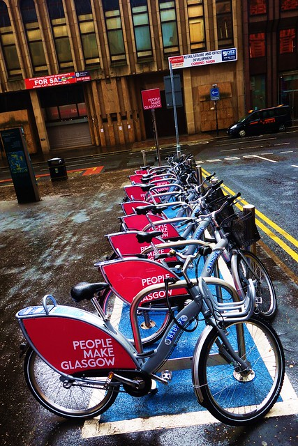 Bicycles for rent, Queen Street Station, Glasgow, Scotland