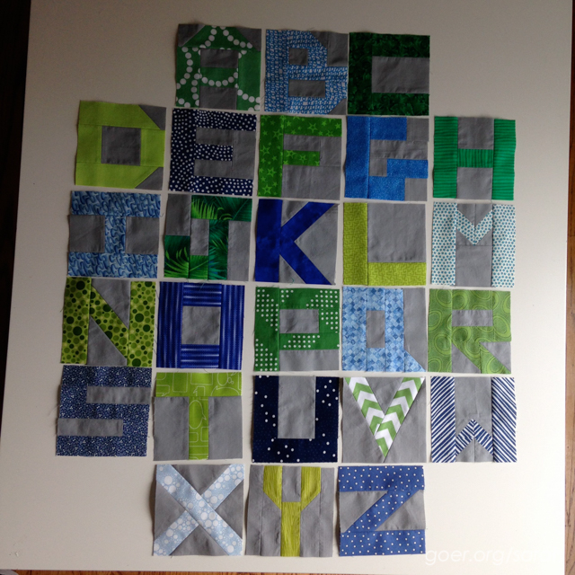 Little Letters blocks in blues and greens