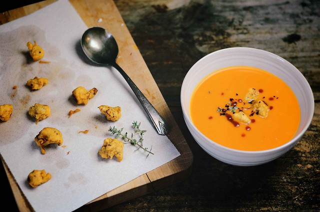 Sweet Potato Soup with Cauliflower Croutons | A Brown Table @abrowntable