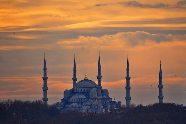 Sunset in The Blue Mosque at Sunset, Istanbul - Tuerkey
