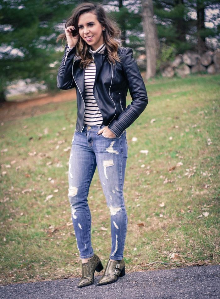 va darling. blogger. fashion blogger. dc blogger. current elliott distressed stiletto denim. tibi  booties. zara faux leather jacket. jcrew stripe turtleneck 7
